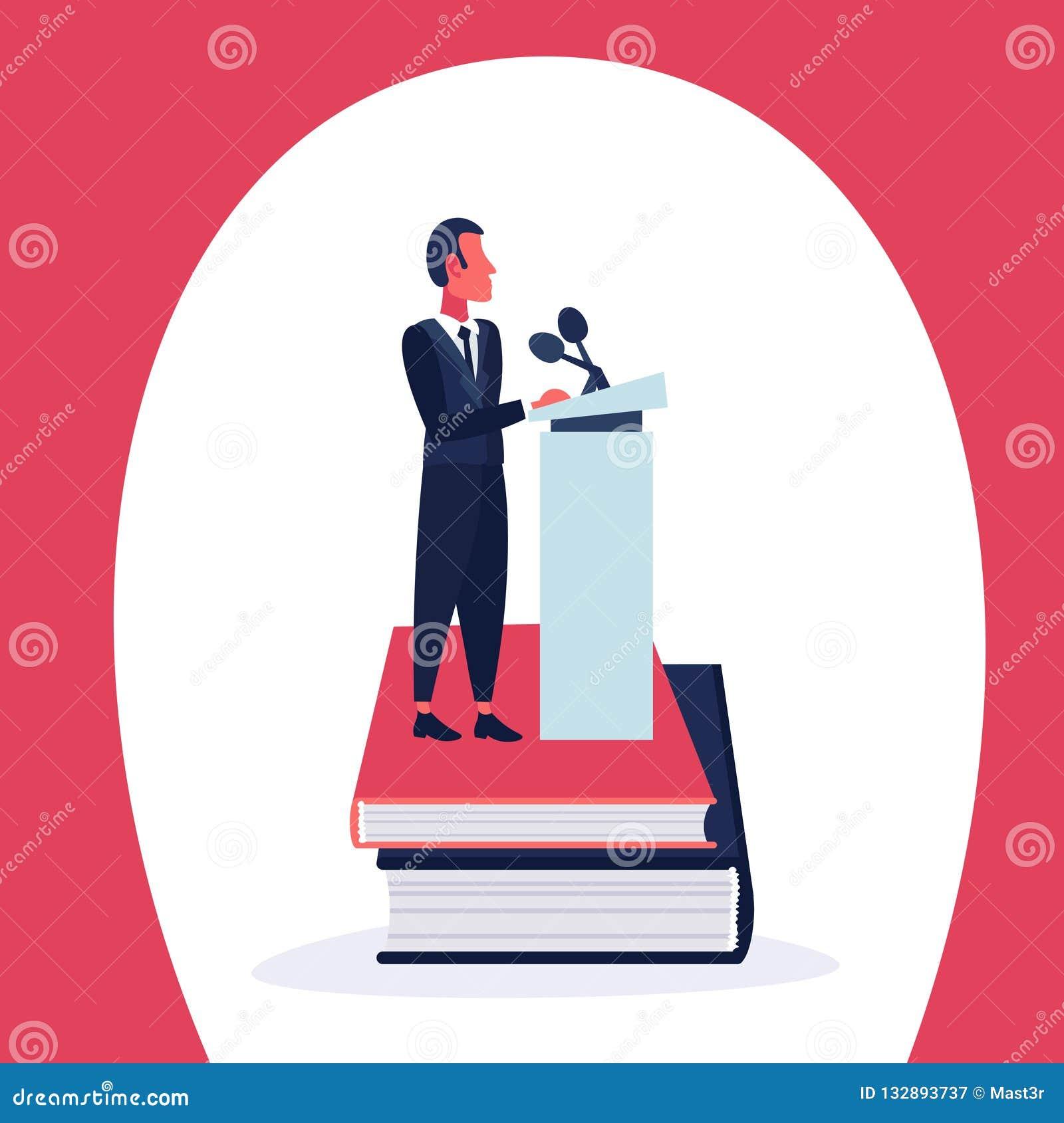Comprimento completo isolado personagem de banda desenhada do microfone do conceito do líder do anunciador da tribuna da pilha de