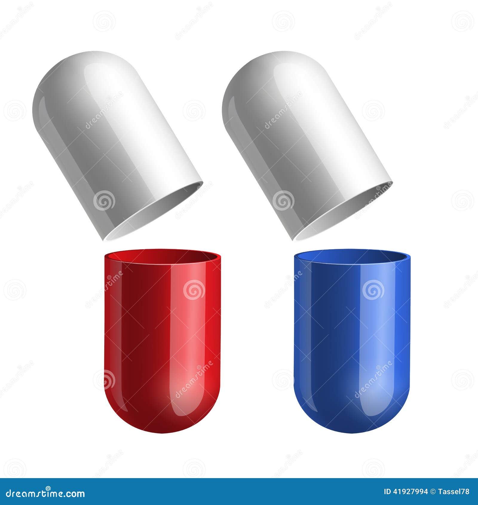 Comprimidos azuis e vermelhos