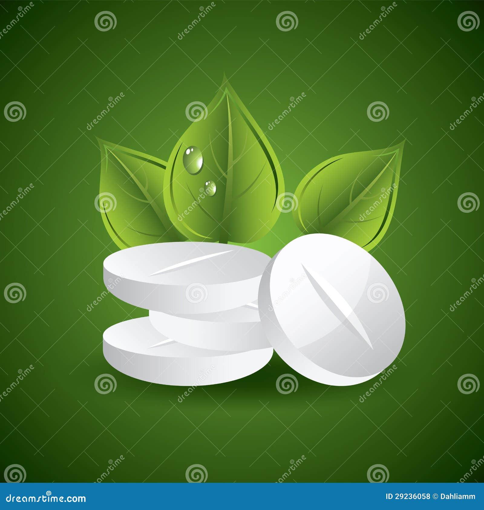Download Comprimidos e folhas ilustração do vetor. Ilustração de doença - 29236058