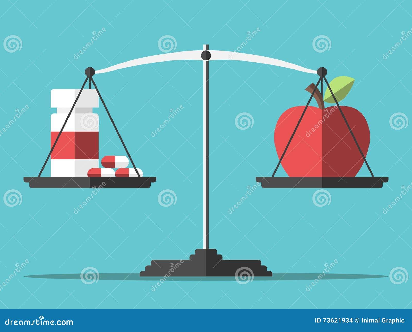 Comprimidos, maçã e equilíbrio