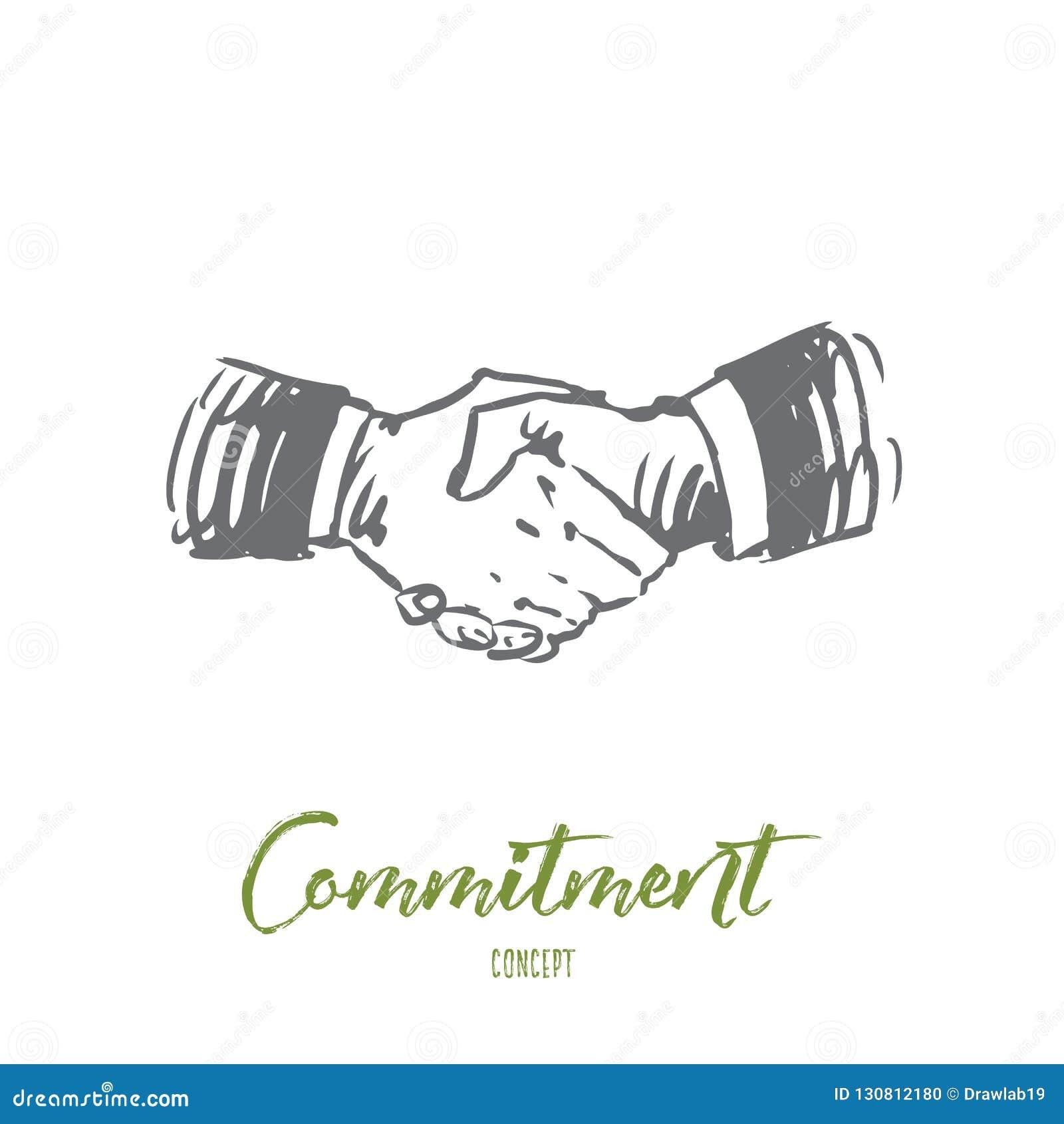 Compromiso, mano, trato, negocio, concepto de la sociedad Vector aislado dibujado mano