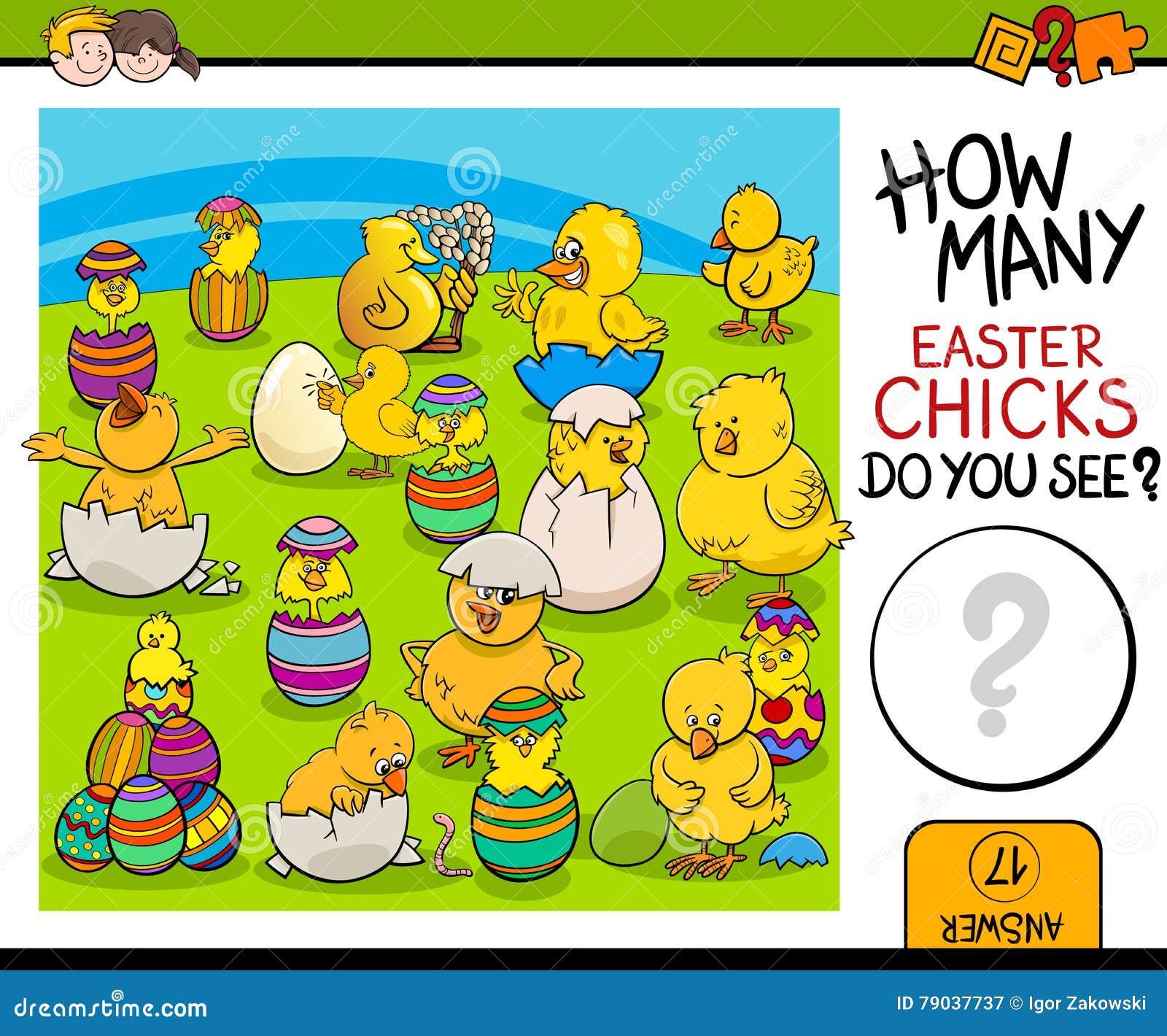 Compte de la tâche avec des poussins de Pâques