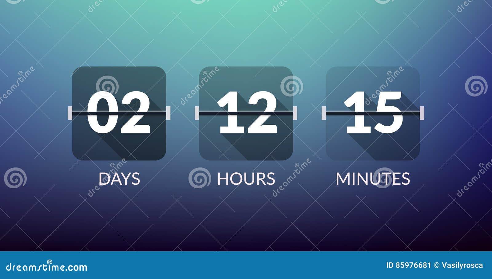 Compteur d horloge de vecteur de minuterie de Flip Countdown De compte signe plat d affaires de vecteur de jour vers le bas