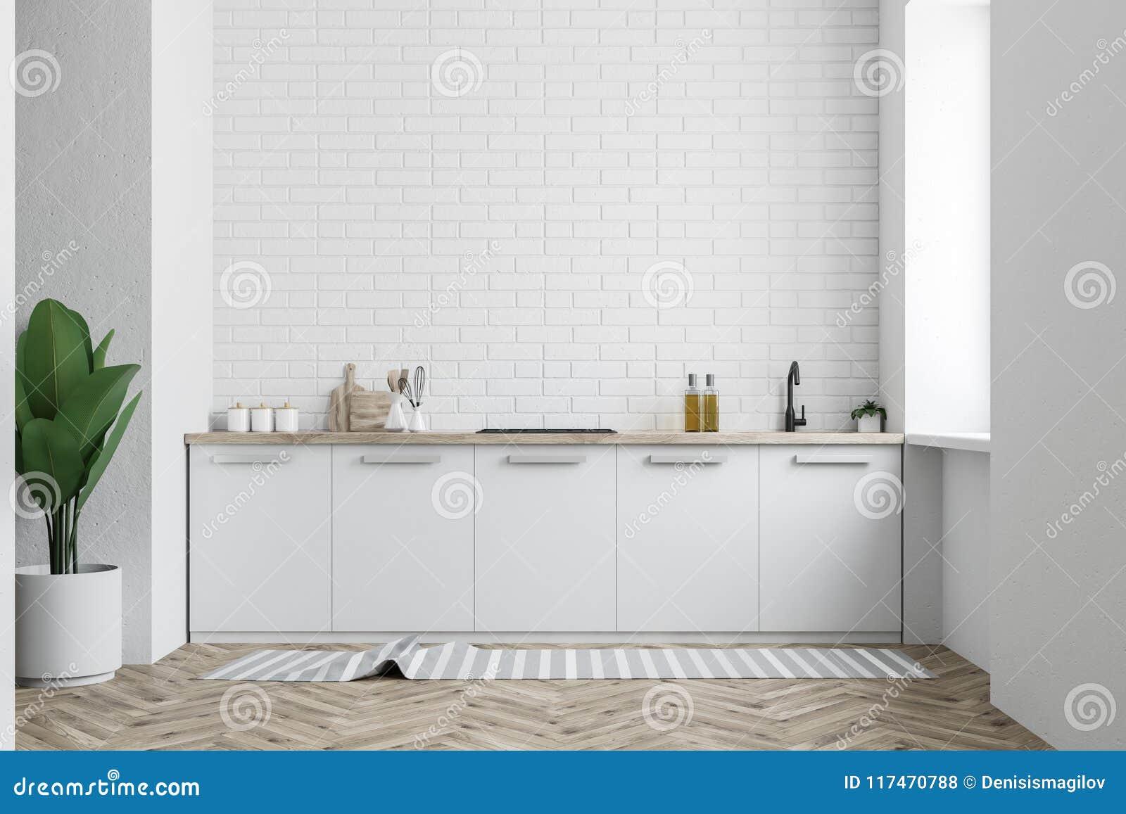 Comptoir De Cuisine Blanc, Mur De Briques Blanc