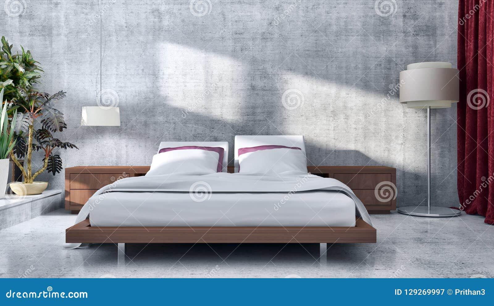 Compu brilhante moderno da ilustração da rendição dos interiores 3D da sala da cama