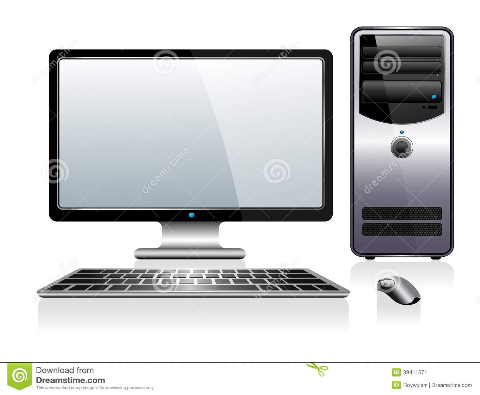 Computador com teclado e rato do monitor