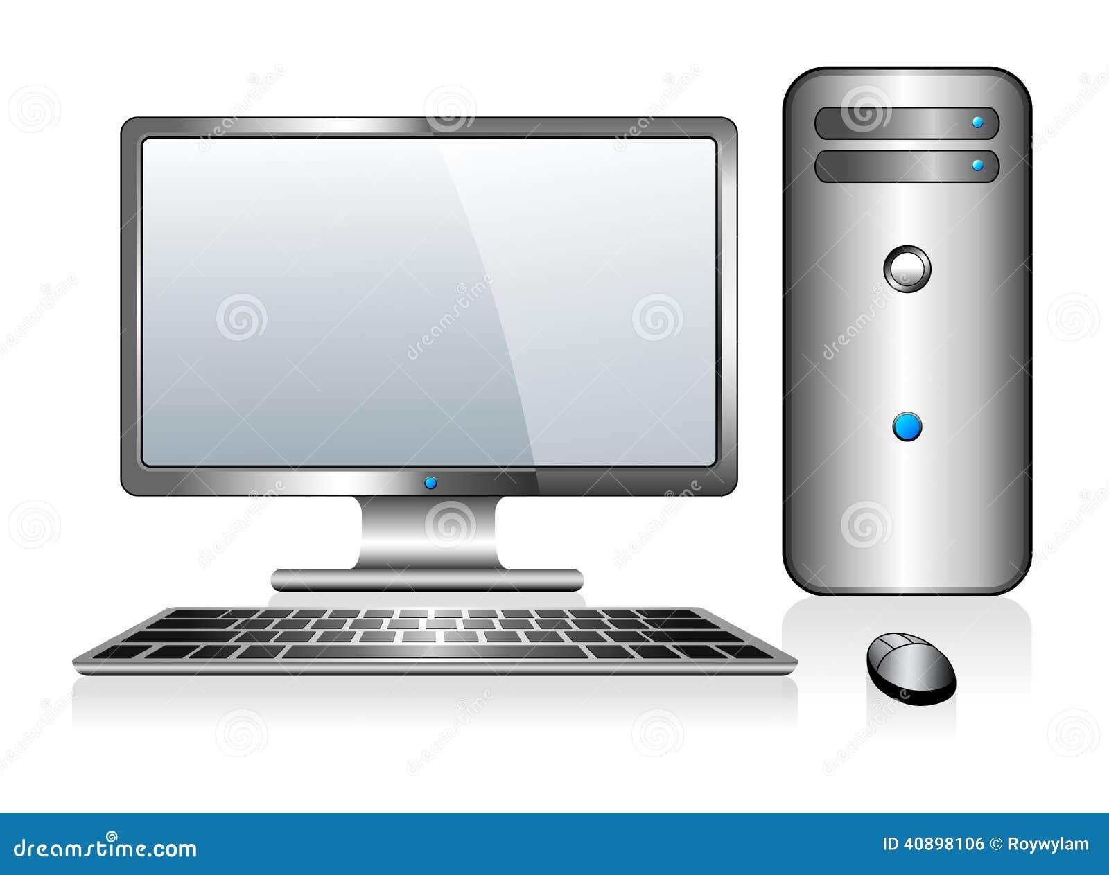 Computador de prata com teclado e rato do monitor