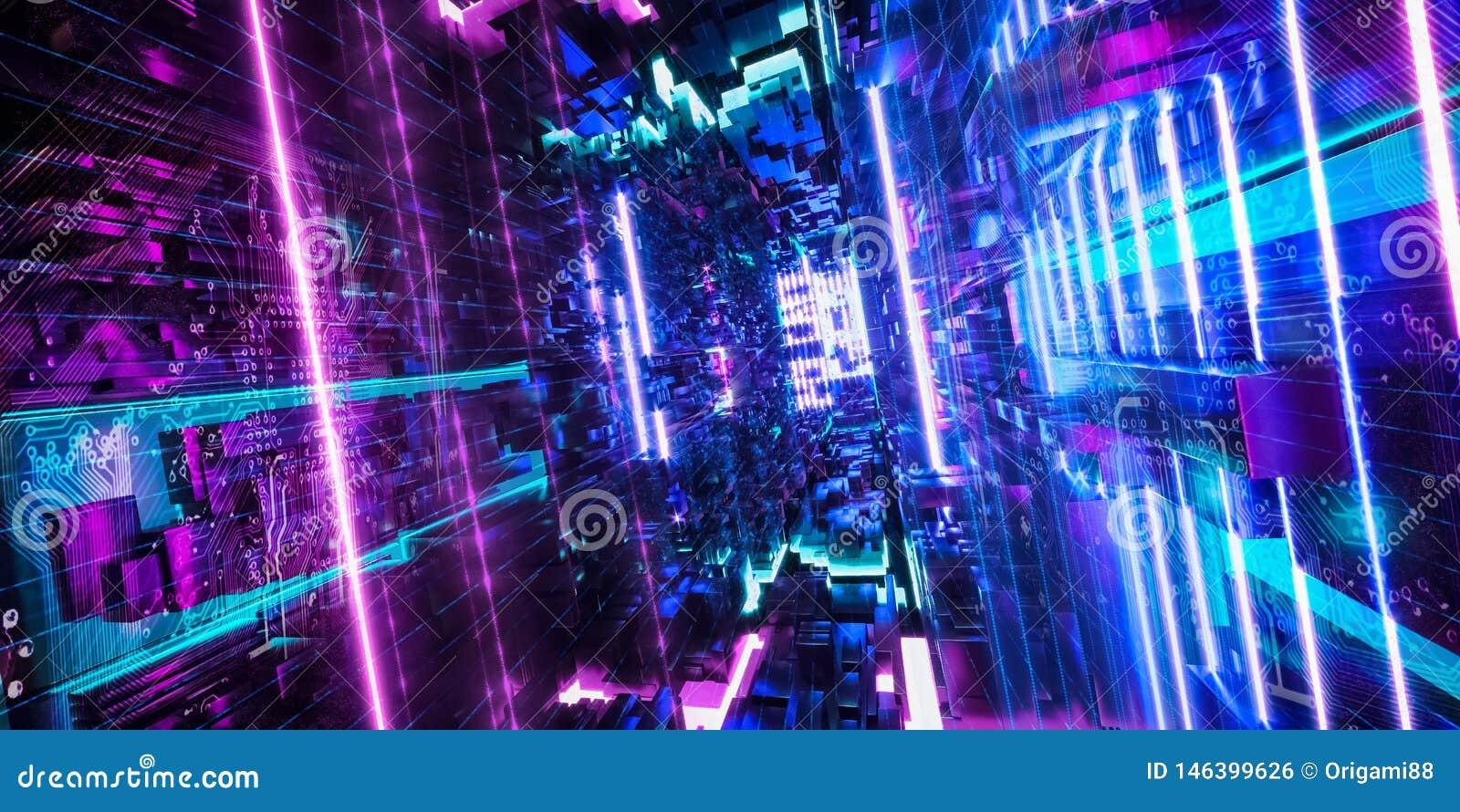 Computador do quantum, armazenamento, realidade virtual, luz de néon azul do rosa futurista rendi??o 3d