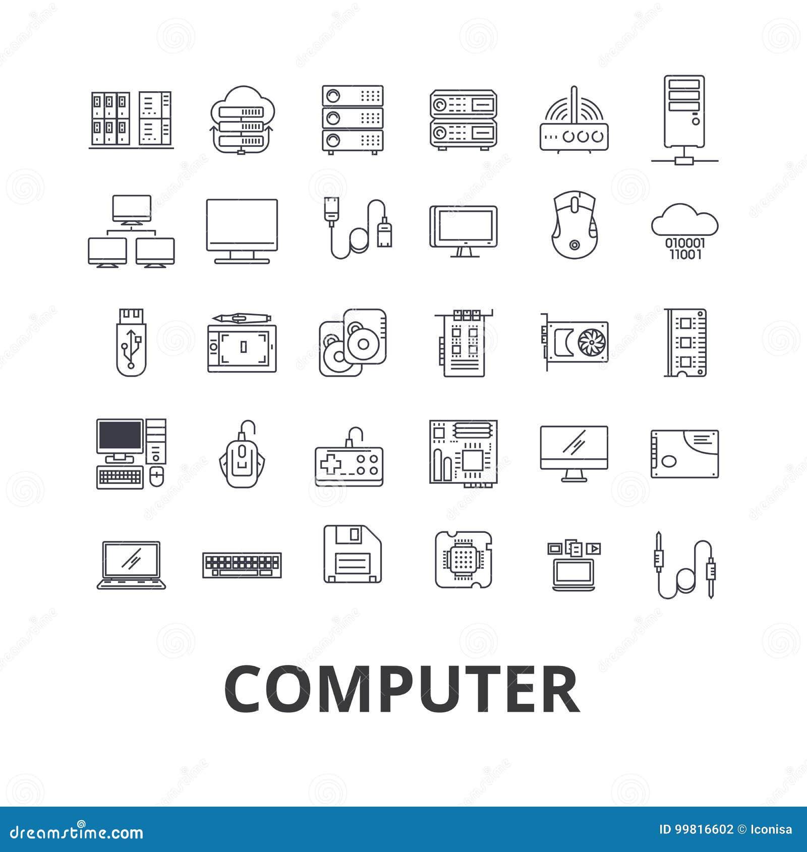 Computador, portátil, tela de computador, tecnologia, Internet, rato, monitor, linha ícones da rede Cursos editáveis liso