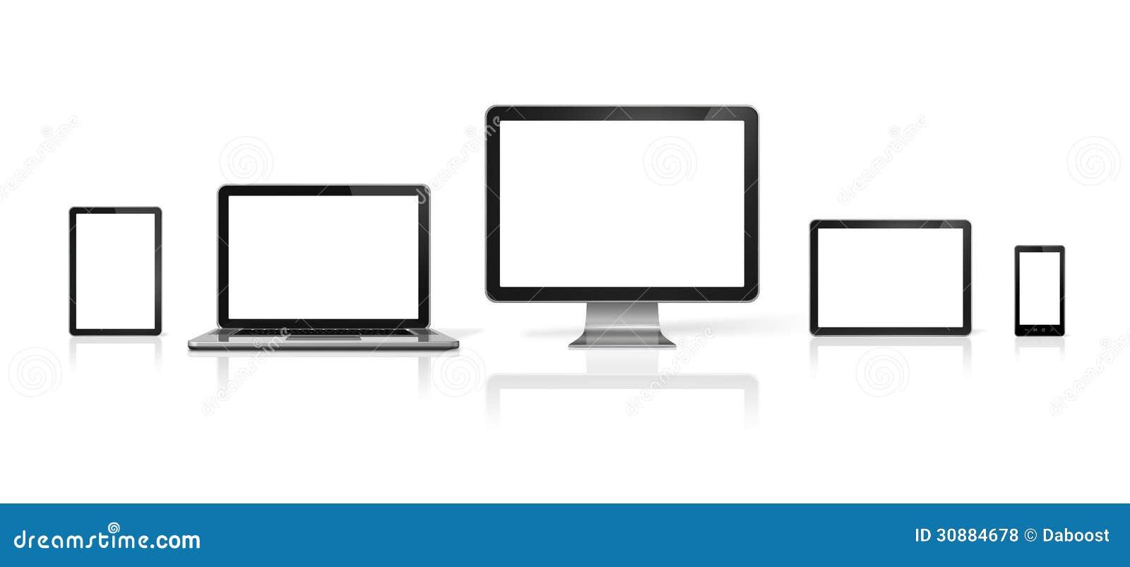 Computador, portátil, telemóvel e PC digital da tabuleta