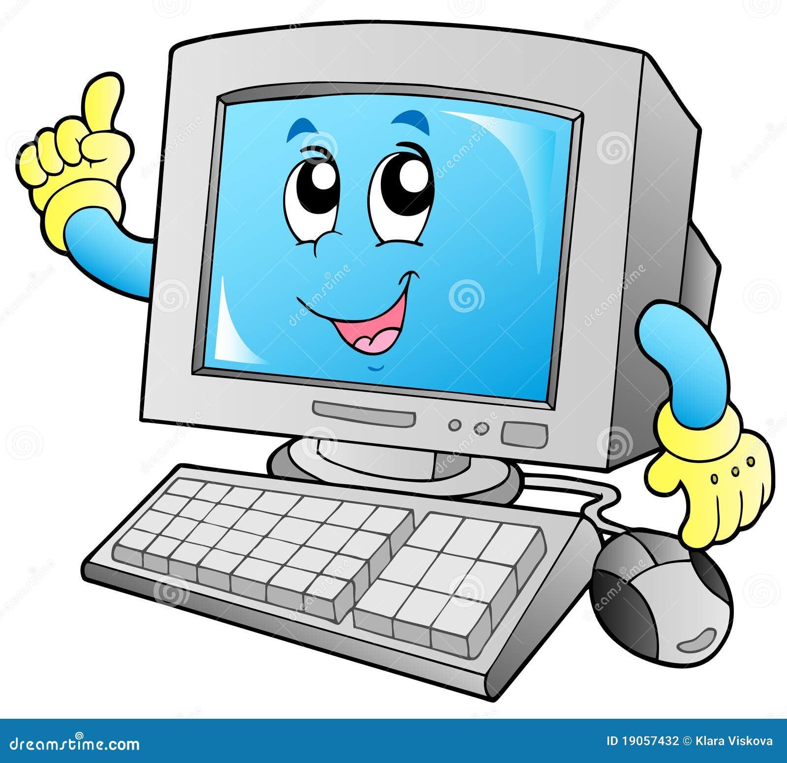 Computadora de escritorio sonriente de la historieta for Escritorio para computadora