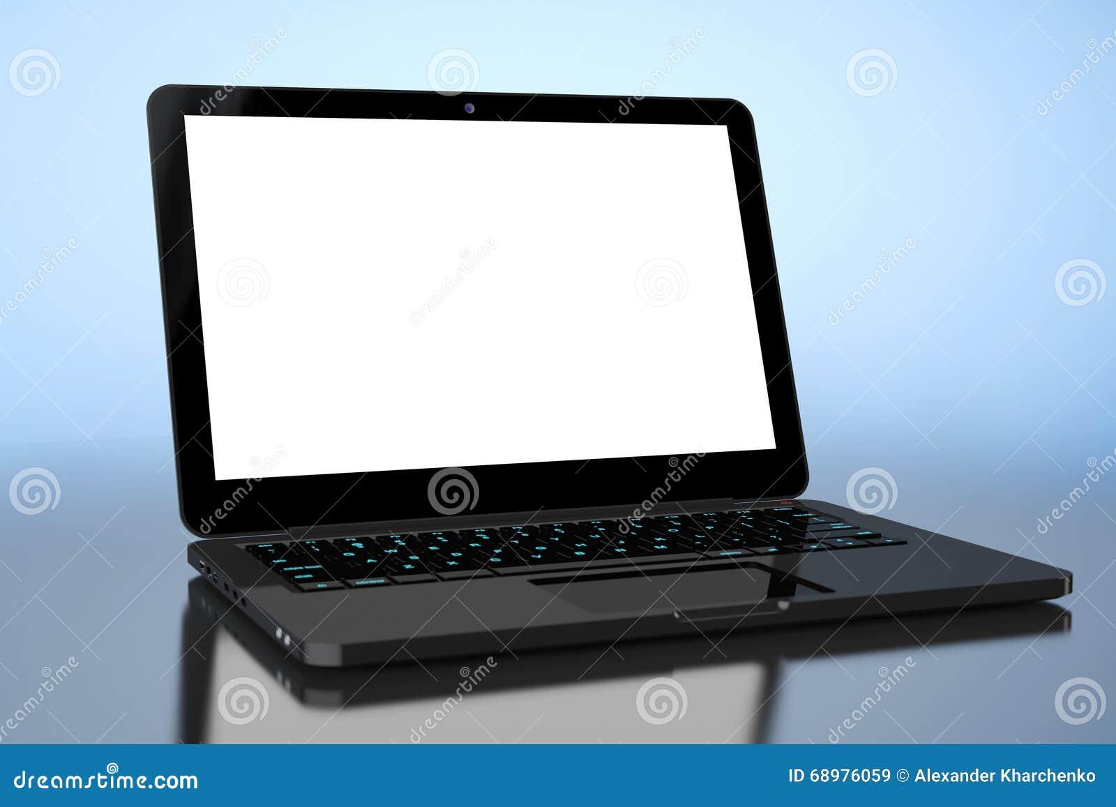 Computadora portátil con la pantalla en blanco