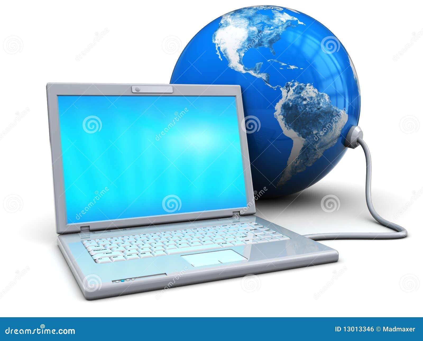 Computadora Portátil Conectada Con La Tierra Stock De Ilustración