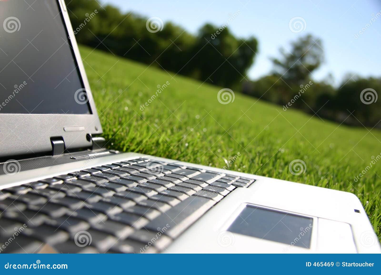 Computadora portátil en un campo