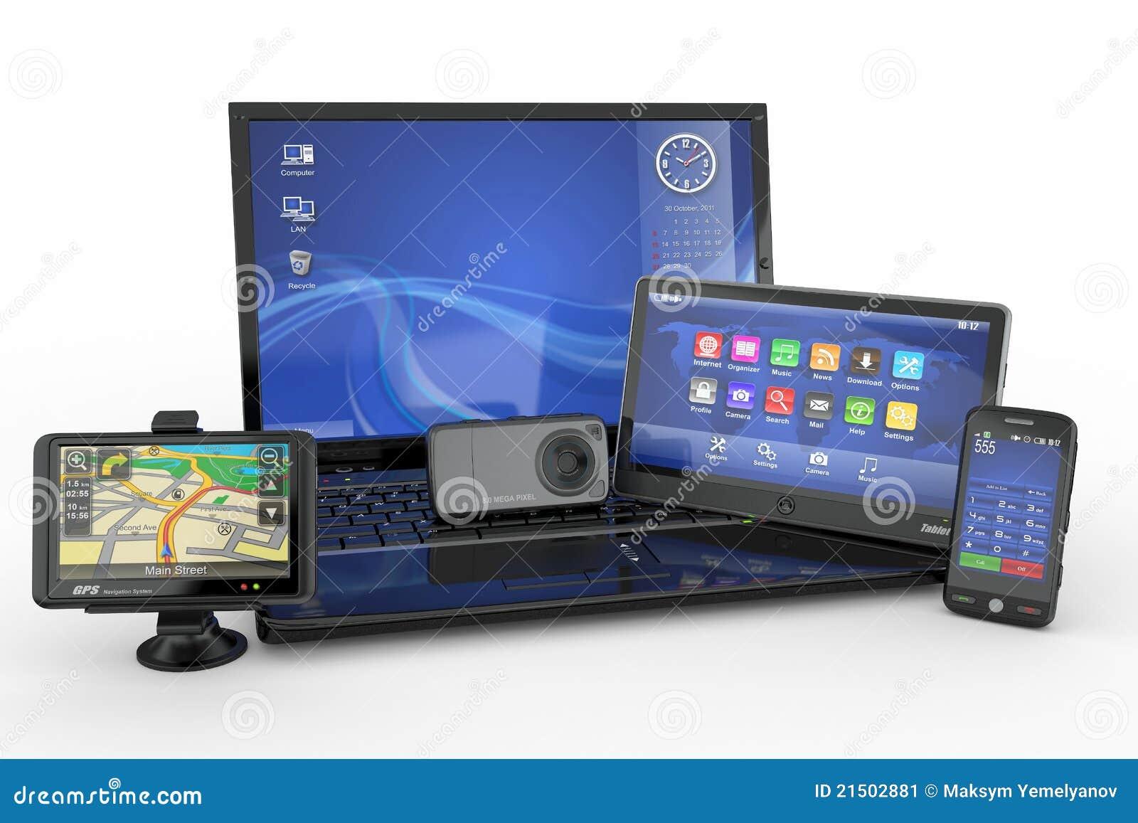 Computadora portátil, teléfono móvil, PC de la tablilla y gps