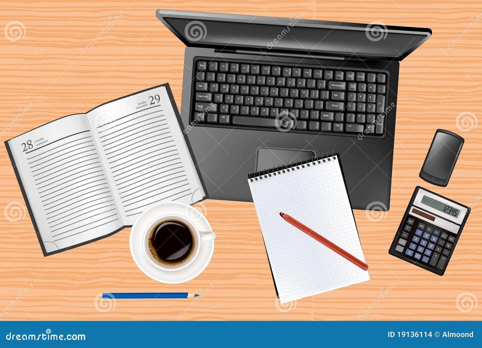 Computadora port til y materiales de oficina que ponen en for Oficina portatil