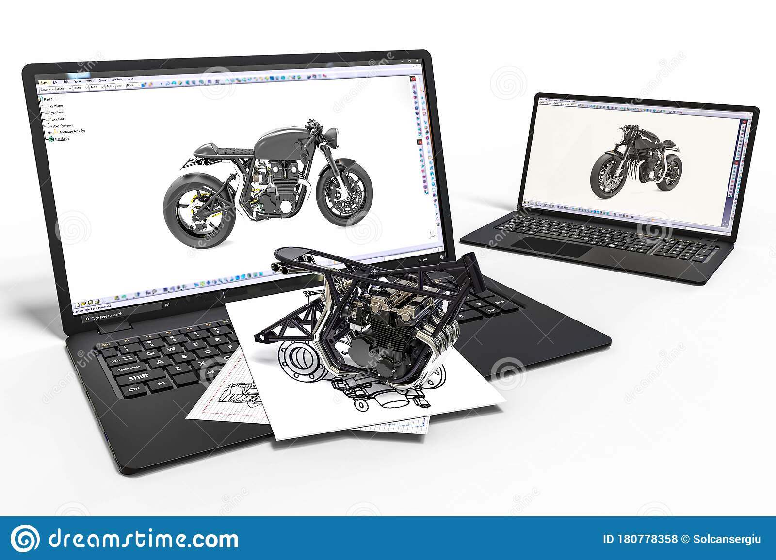 Computer Aided Design With 3d Software Motorcycle Development With The Help Of A Computer Software Stock Illustration Illustration Of Development Drawing 180778358