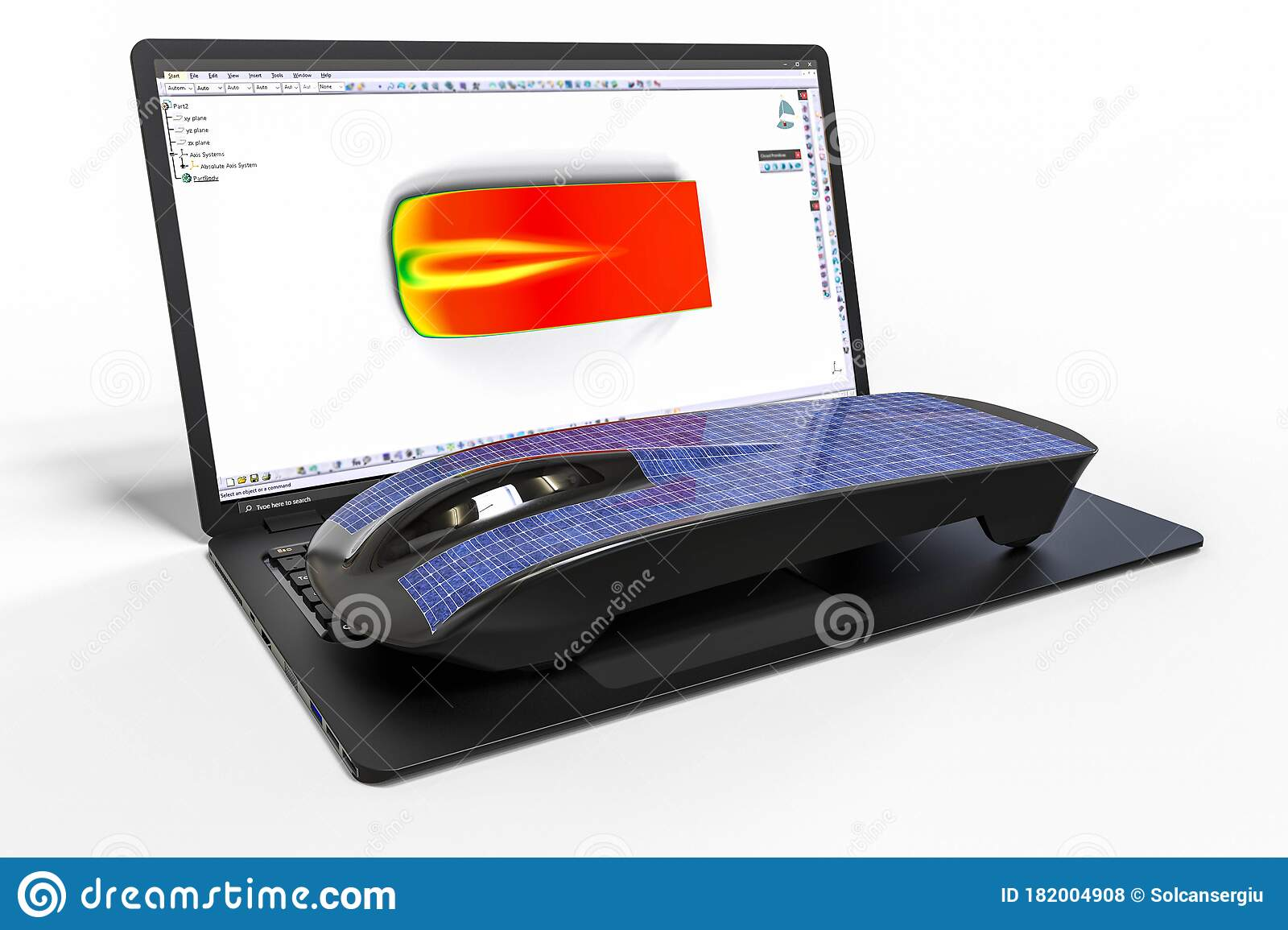 Computer Aided Design With 3d Software Solar Car Development With The Help Of Computers Softwares Stock Illustration Illustration Of Charged Clean 182004908