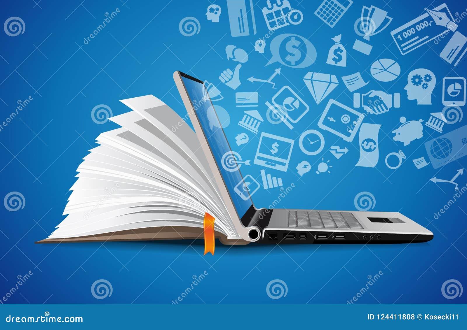 Computer als concept van de boekkennisbank - laptop zoals elearning