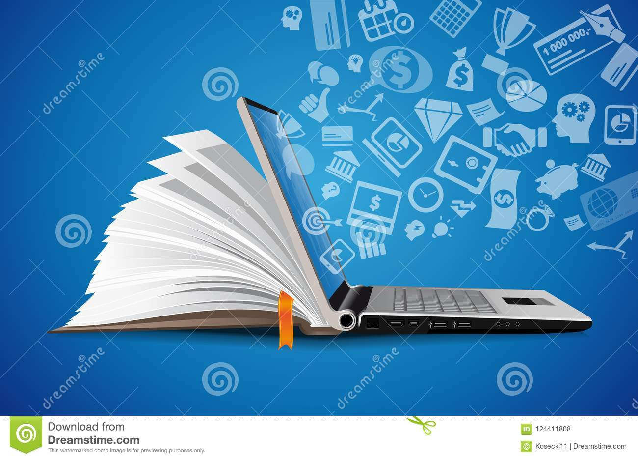 Computer as book knowledge base concept - laptop as elearning