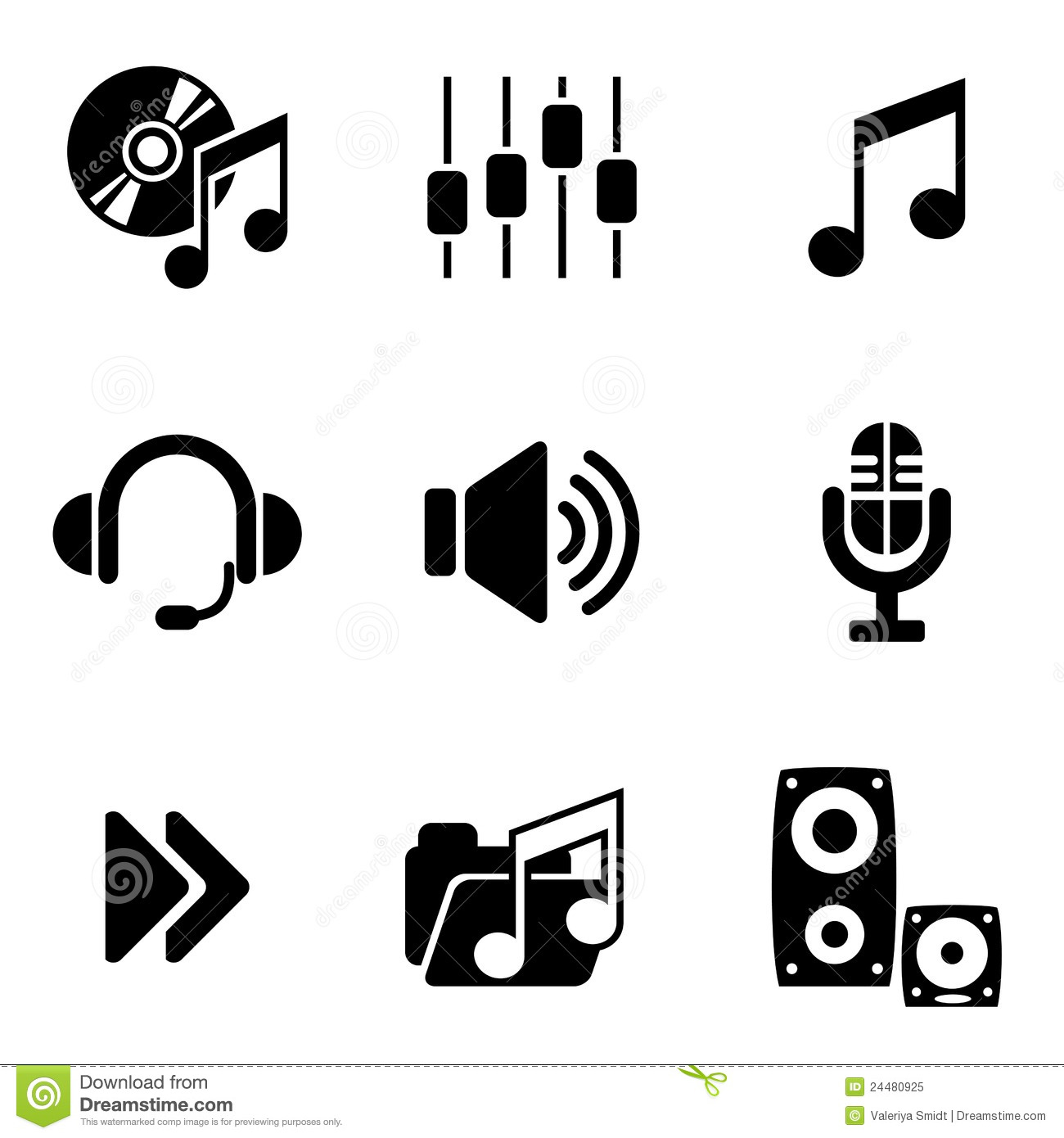 computer audio icons stock vector  illustration of