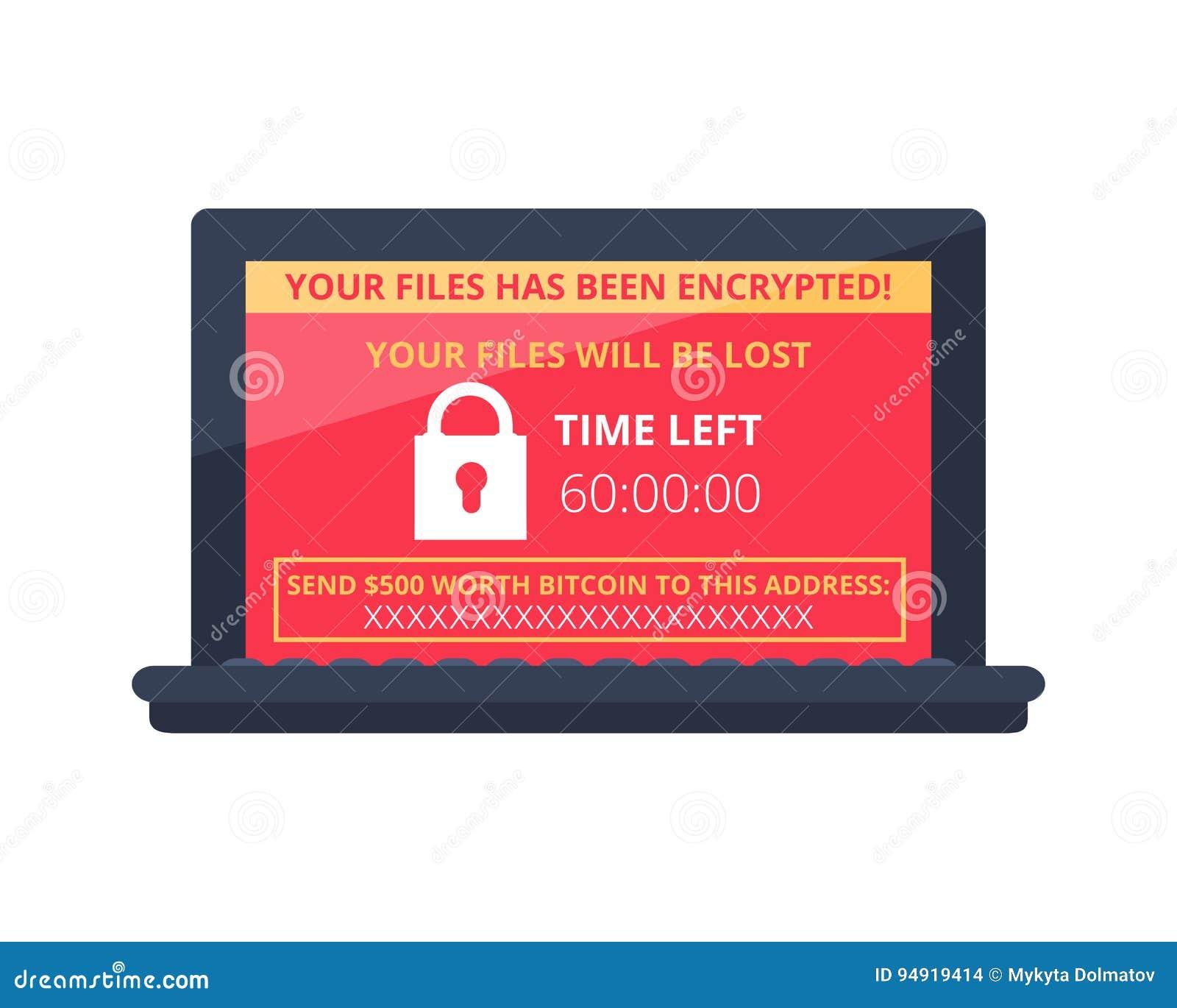 Computer besmet door malware ransomware wannacry virus