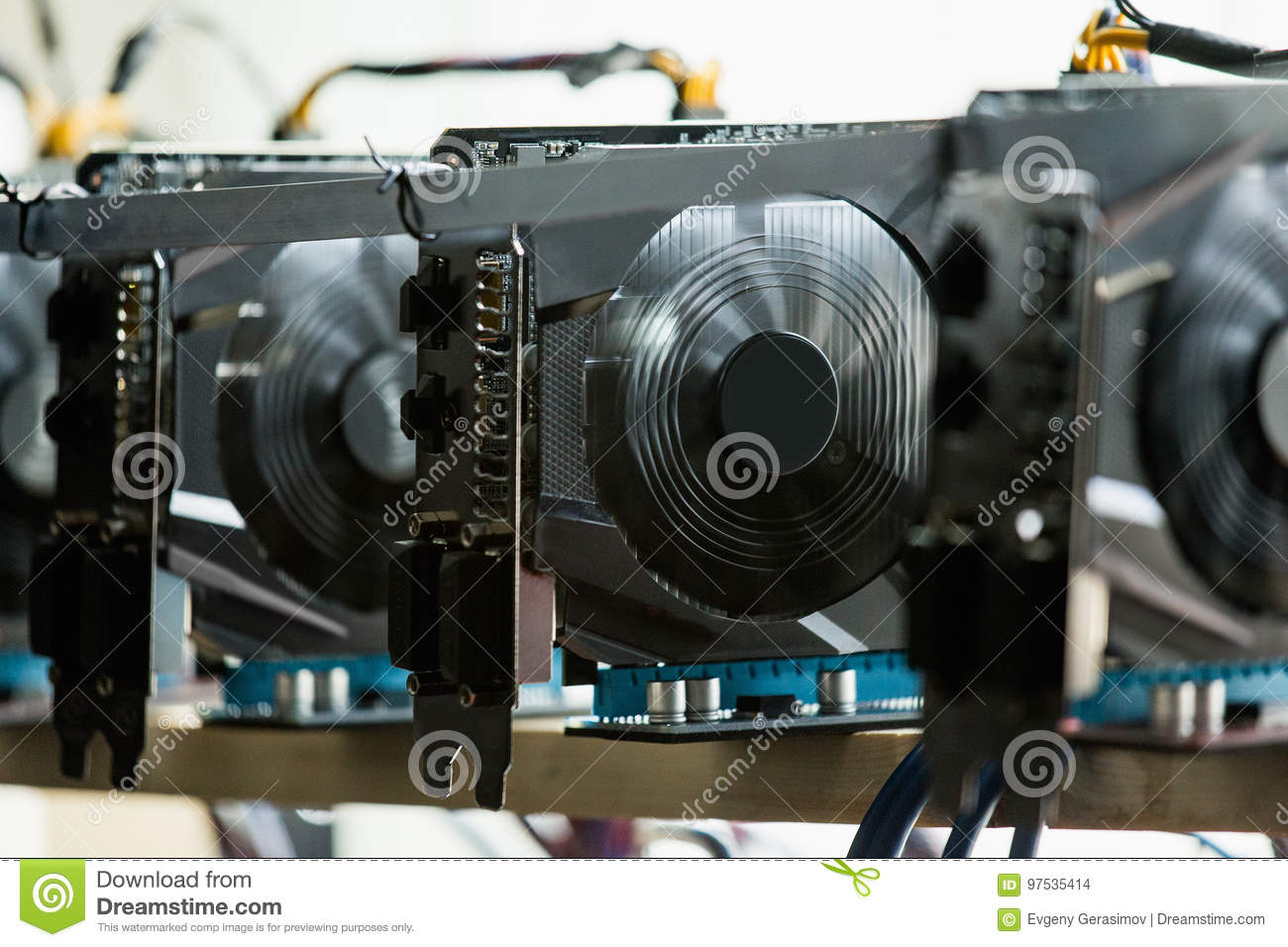 Computer For Bitcoin Mining Stock Photo - Image of card ...