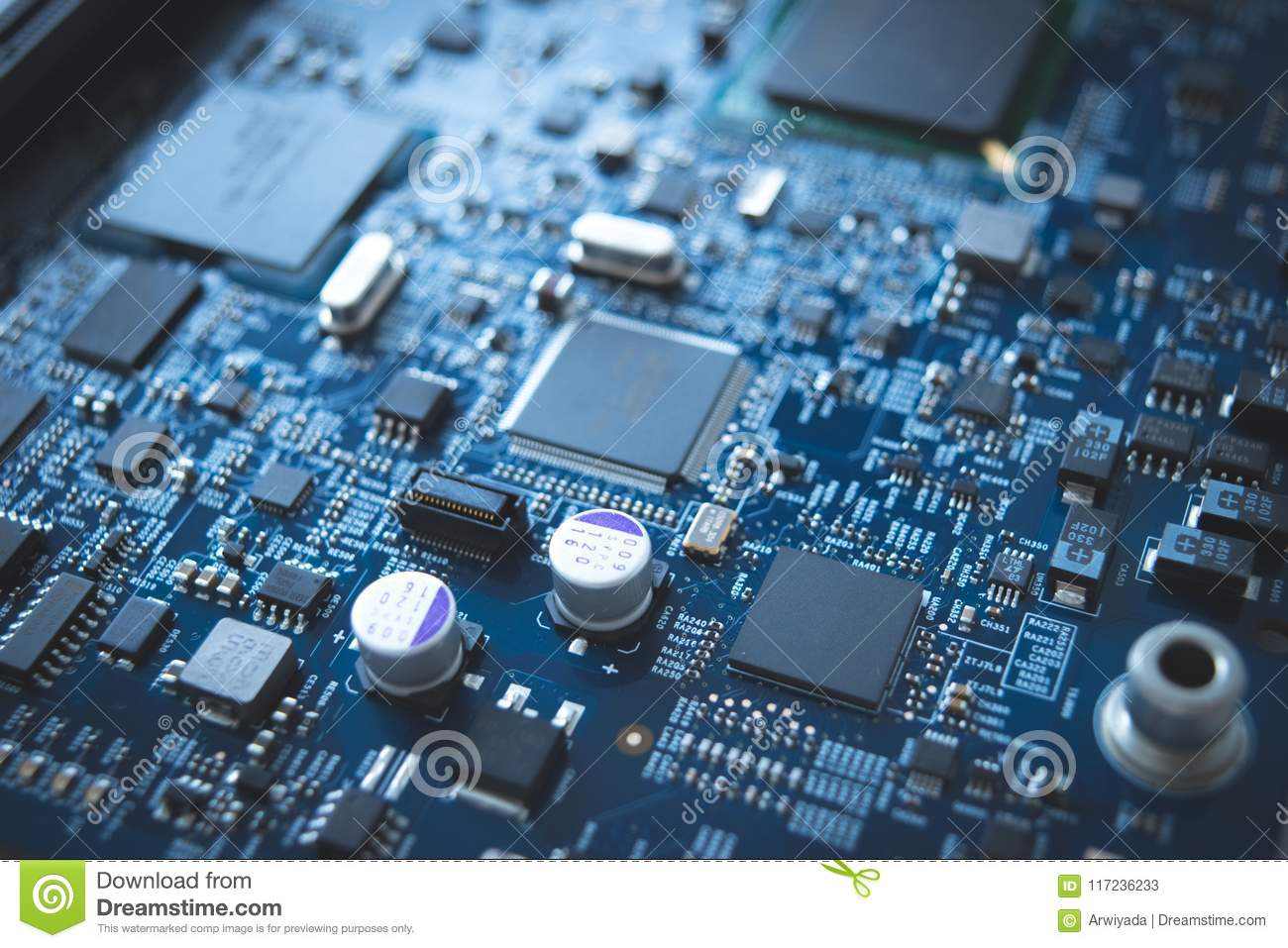 Computer Board Chip Circuit Cpu Core Blue Technology Background Green Texture