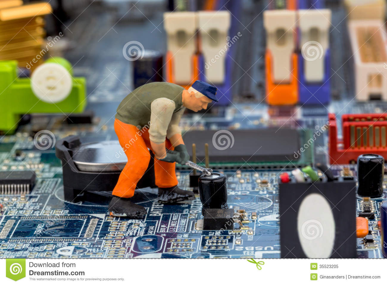 Computer Board And Construction Workers Royalty Free Stock