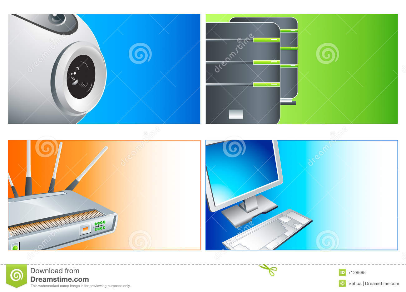 Computer business cards stock vector. Illustration of advanced - 7128695