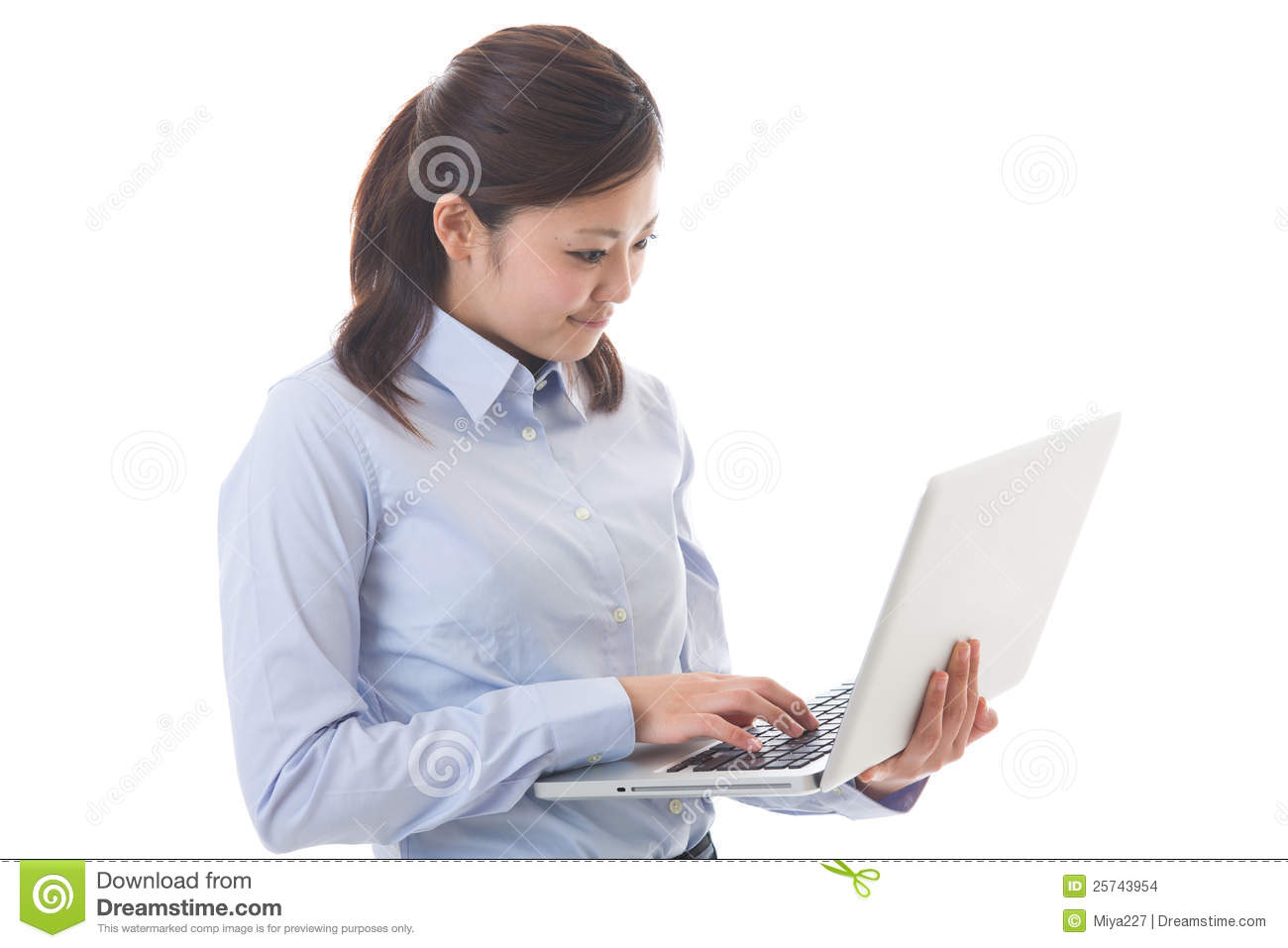 Computer and businesswoman