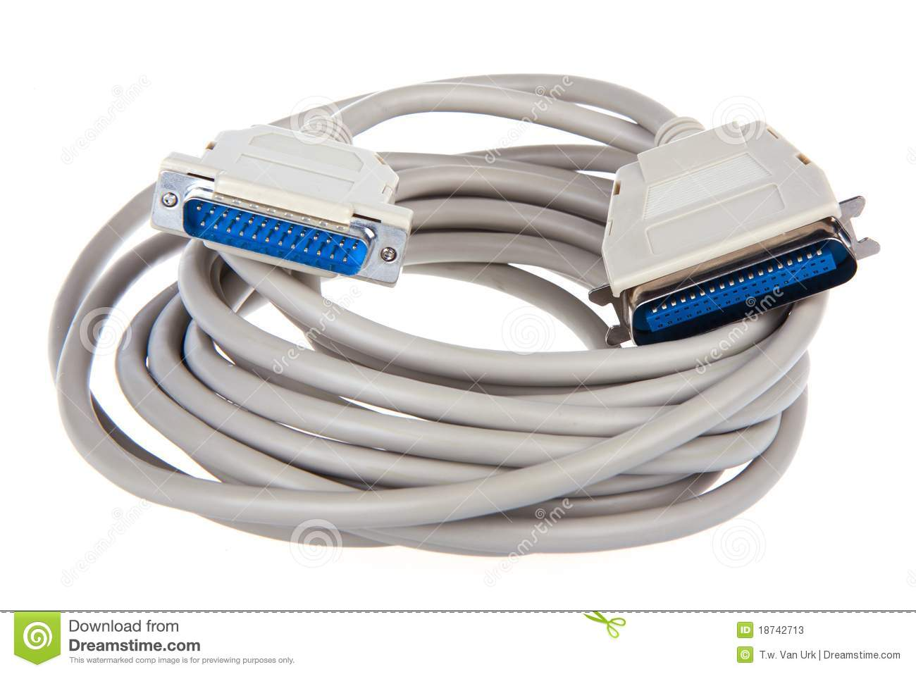 Computer Cable With 25 Pin Connector Stock Image Image