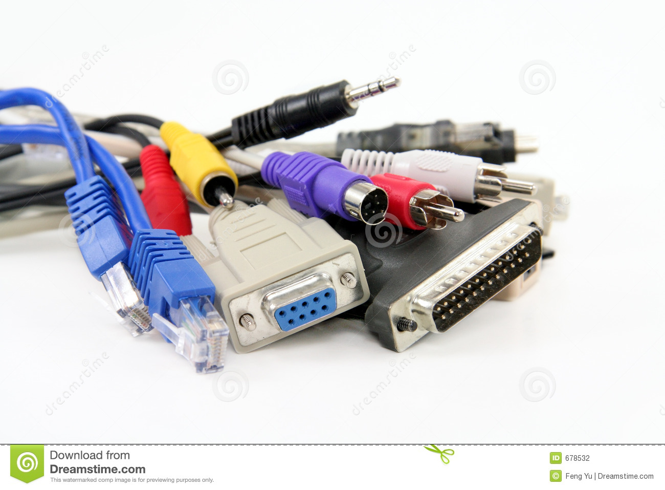Computer Cables And Connectors : Computer cables stock photography image