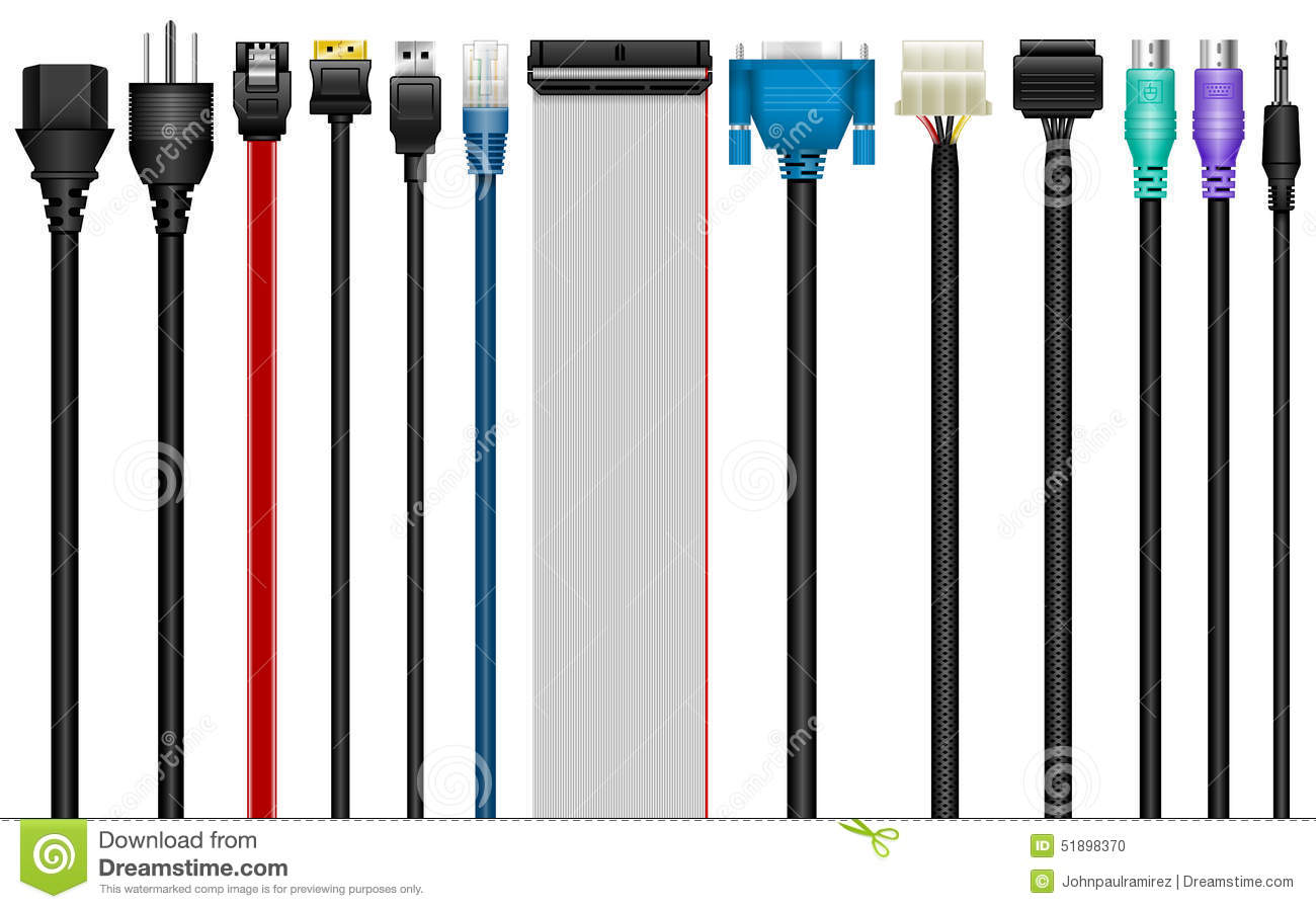 Computer cables connectors technology stock vector