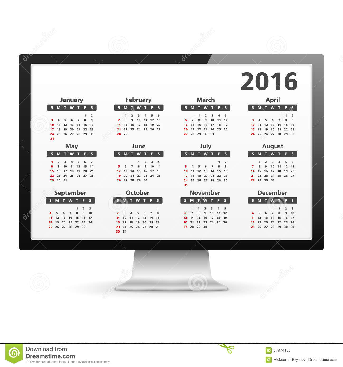 Calendar Planner For Laptop : Computer with calendar stock vector image