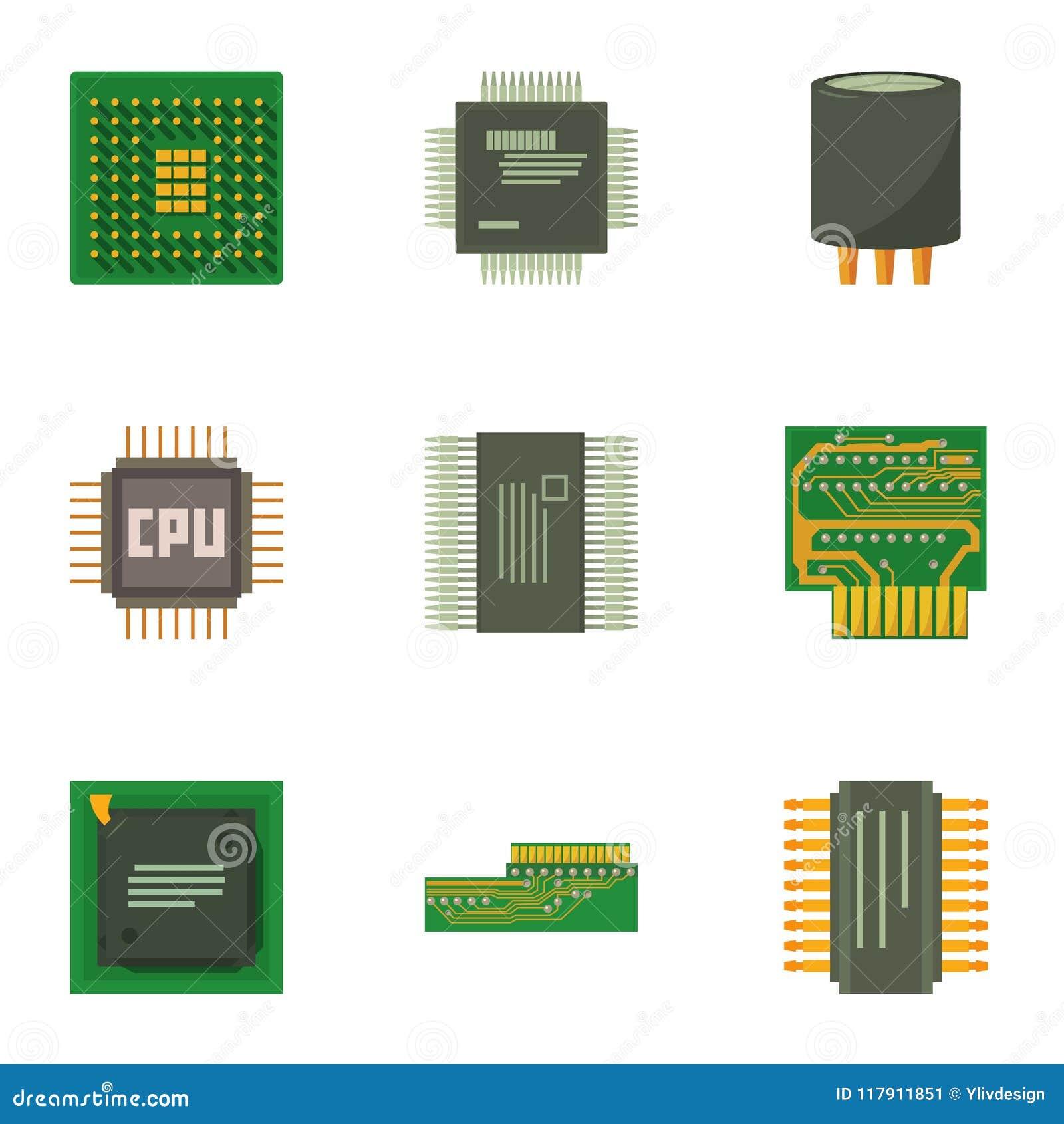 Computer chip icons set, cartoon style