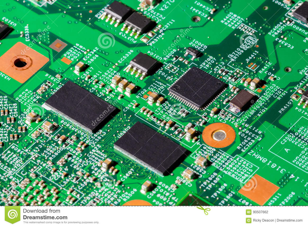 Computer Chips On Circuit Board Stock Photo - Image of chip ...