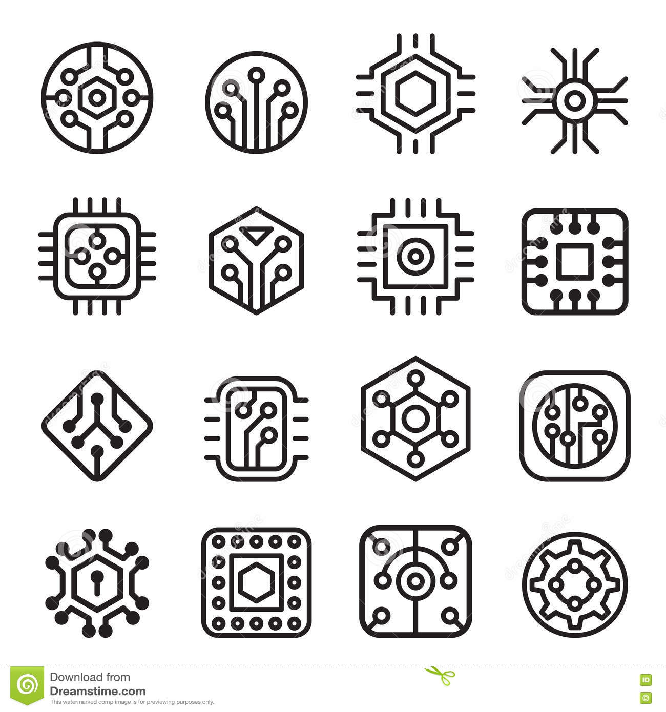 computer chips and electronic circuit icons in thin line style stock illustration