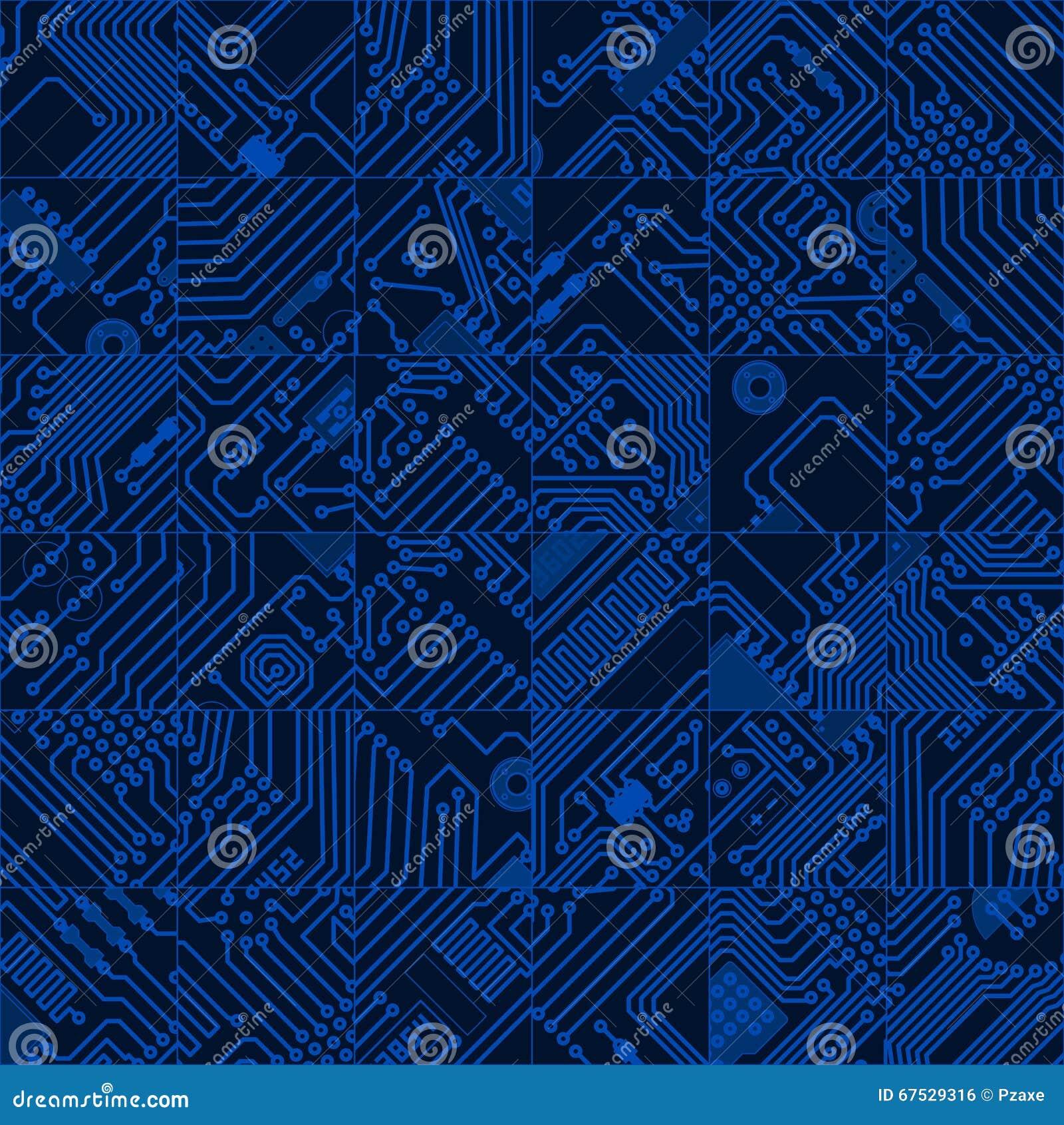 computer circuit board dark blue pattern vector seamless hi te