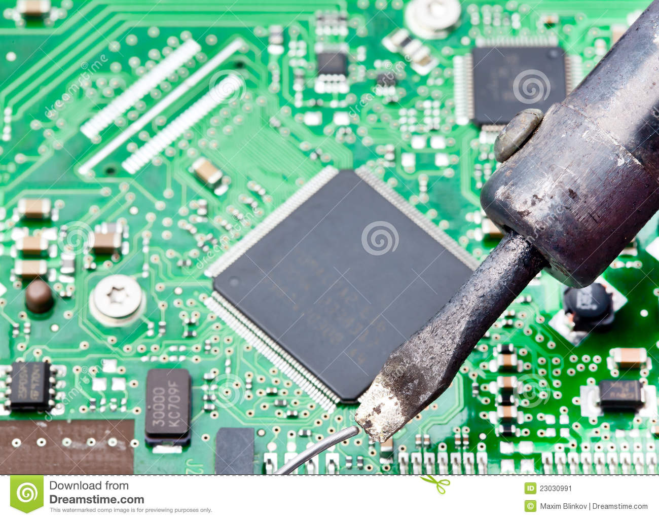 Soldering On Circuit Board Computer With Iron Stock Image Of