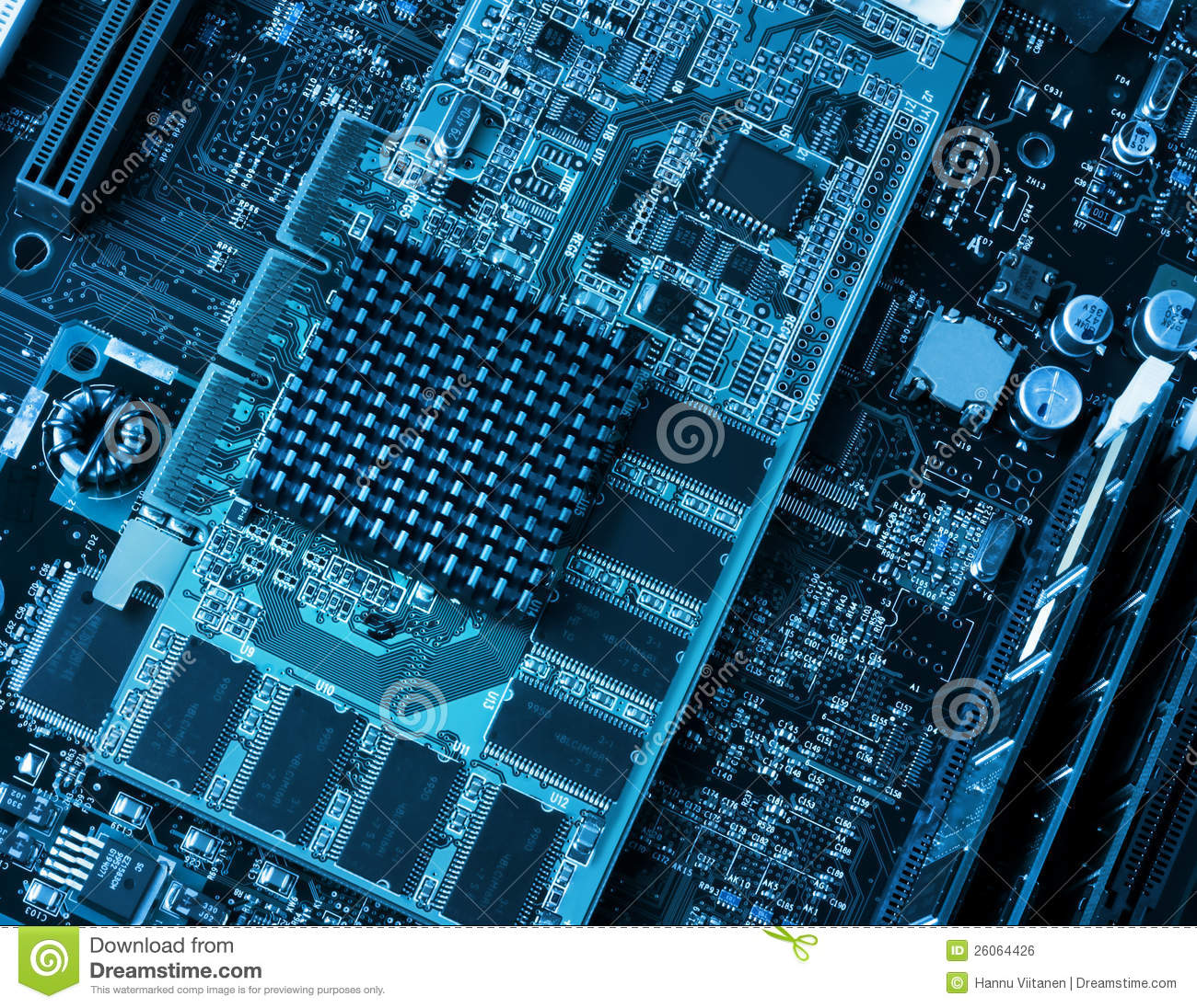 Computer Circuit Board And Processors Stock Photo - Image of ...