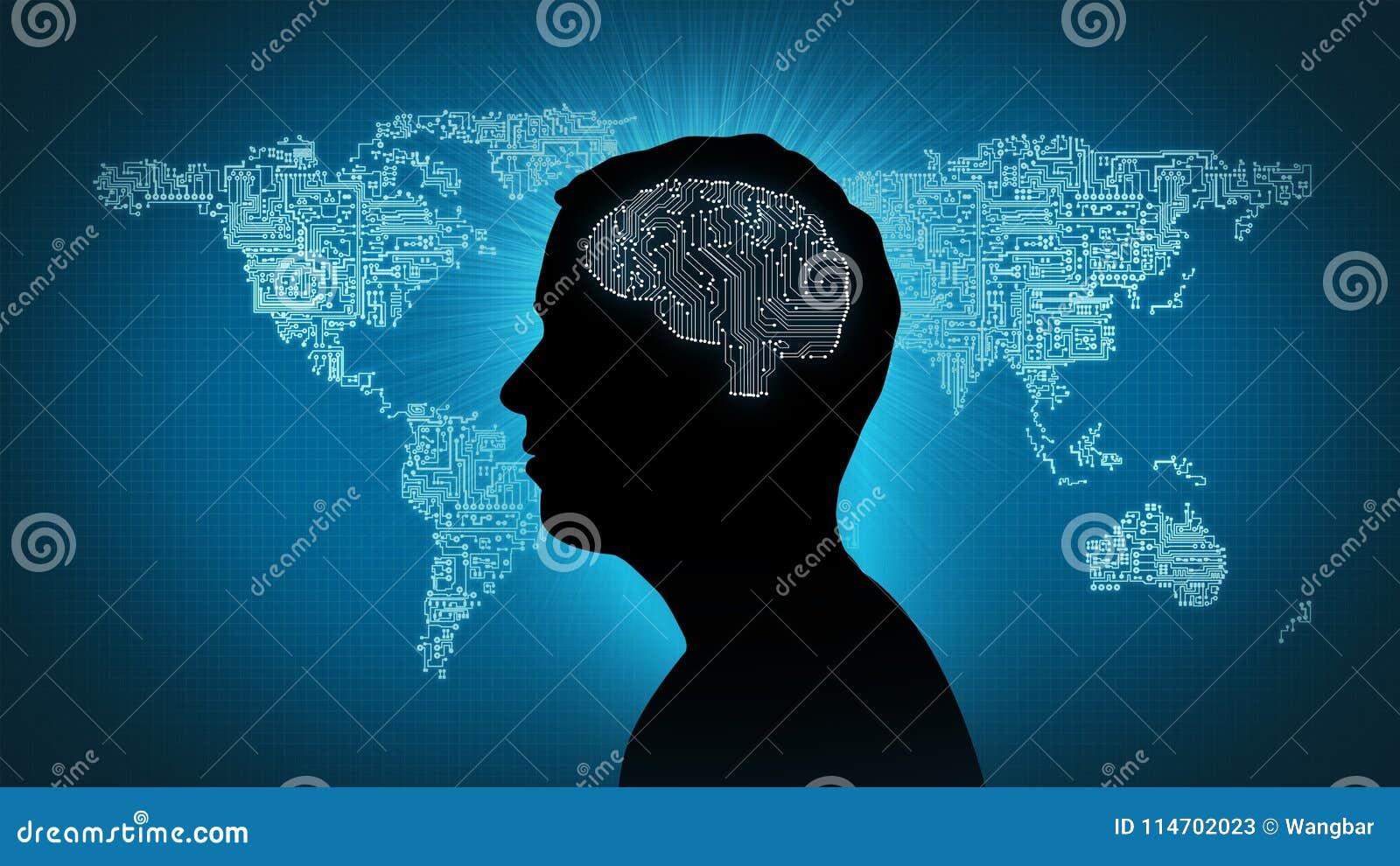 Computer circuit brain - man in front of circuitboard world