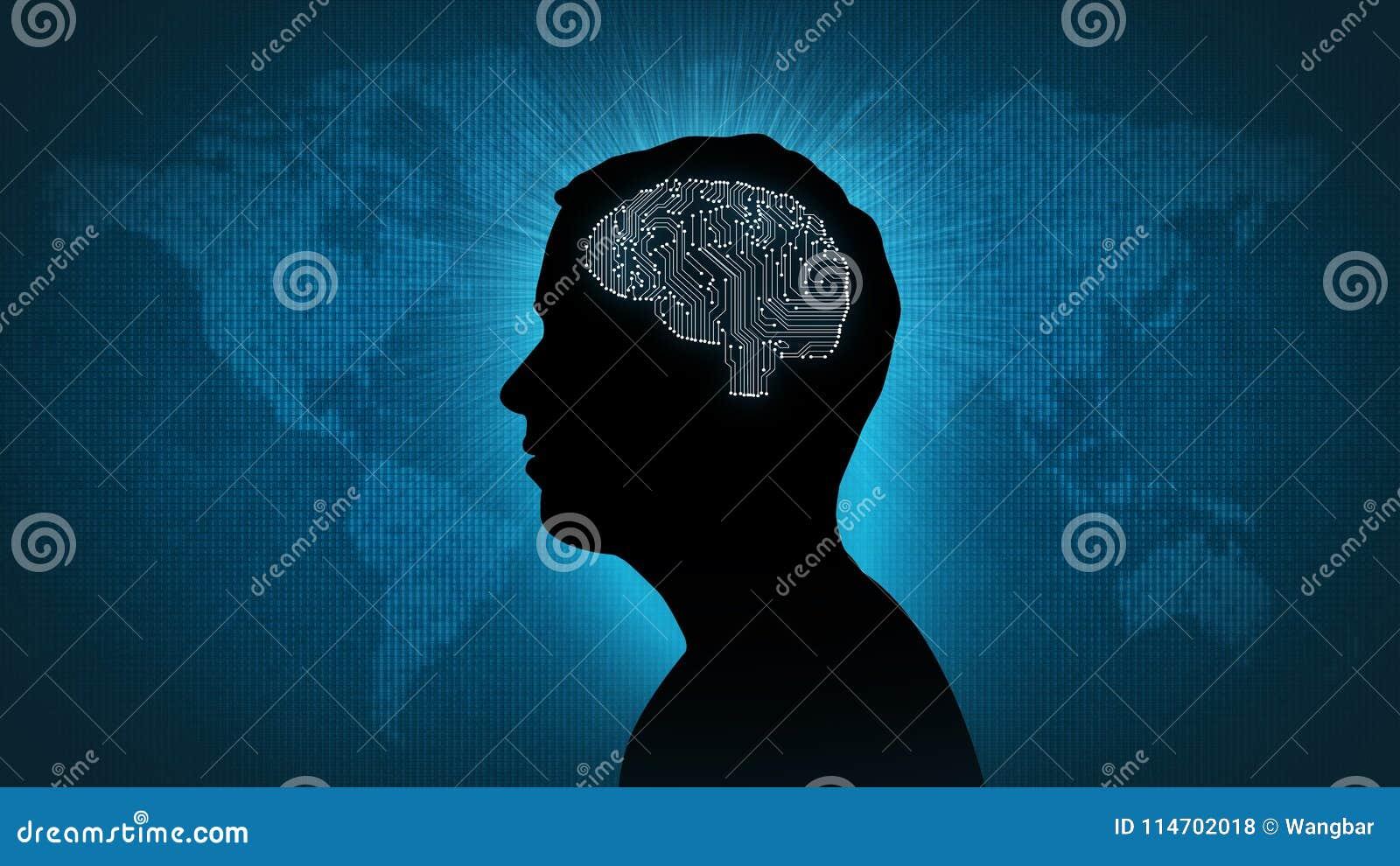 Computer circuit brain - man in front of digital world
