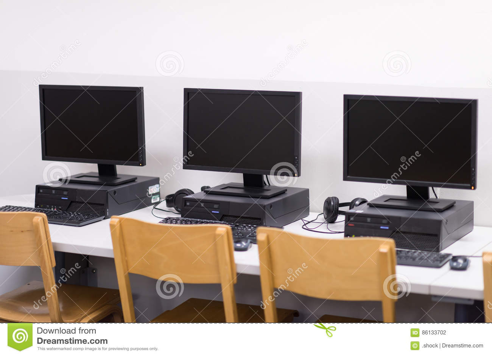 Computer classroom stock photo. Image of futuristic, college ...