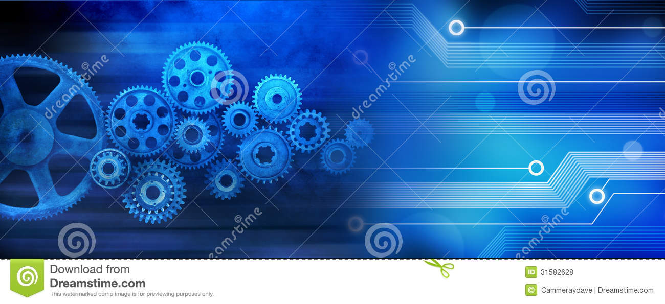 Computer Cogs Technology Banner Background Royalty Free