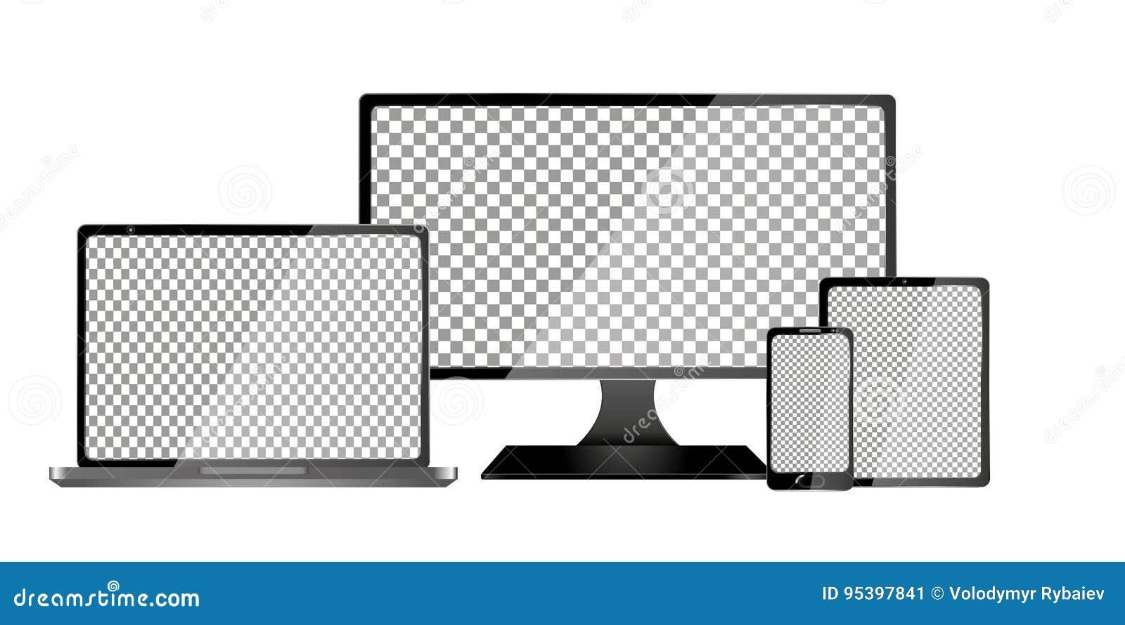 Computer, computer portatile, compressa e telefono cellulare realistici con lo schermo trasparente della carta da parati isolato