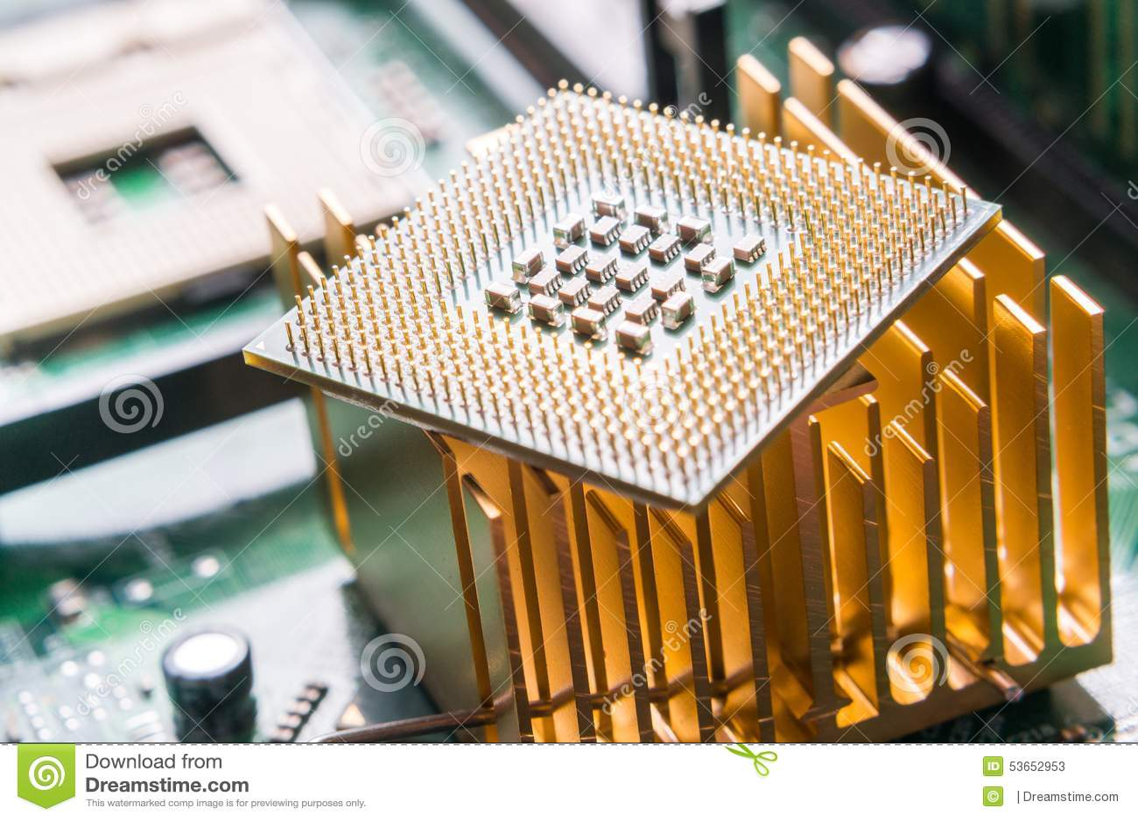 Computer CPU component close up