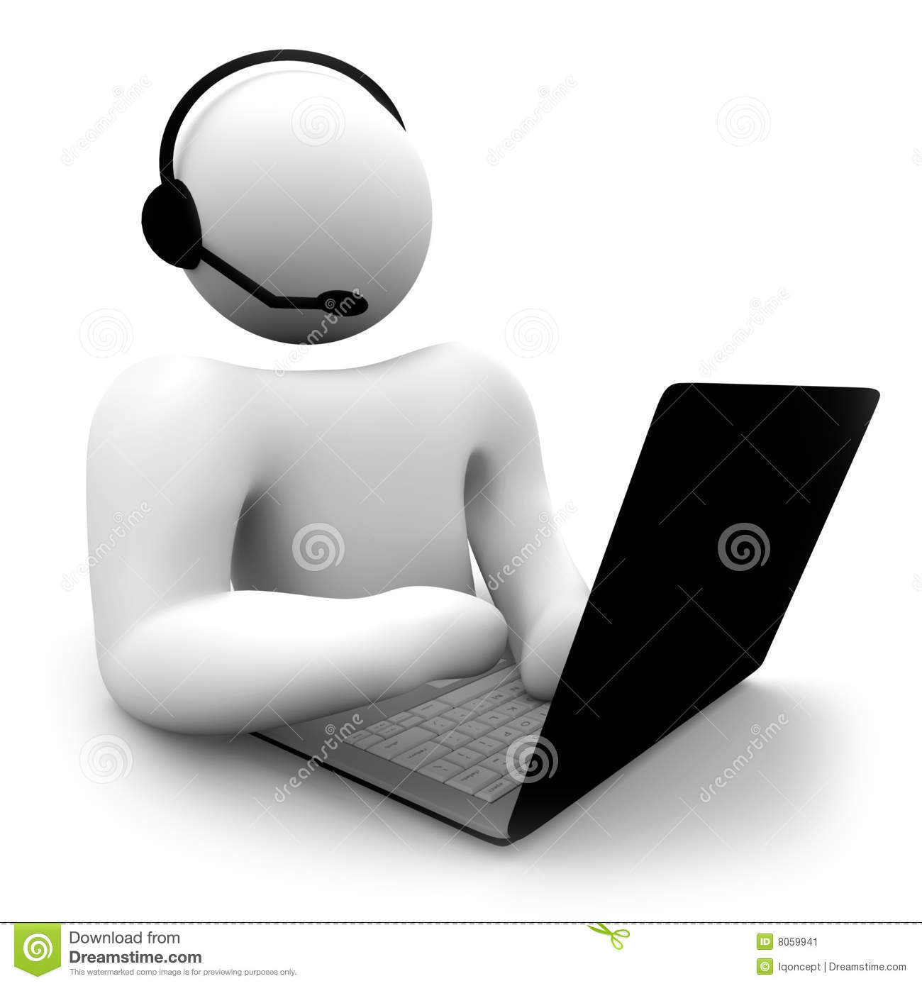 Computer Customer Support Person Stock Image - Image: 8059941