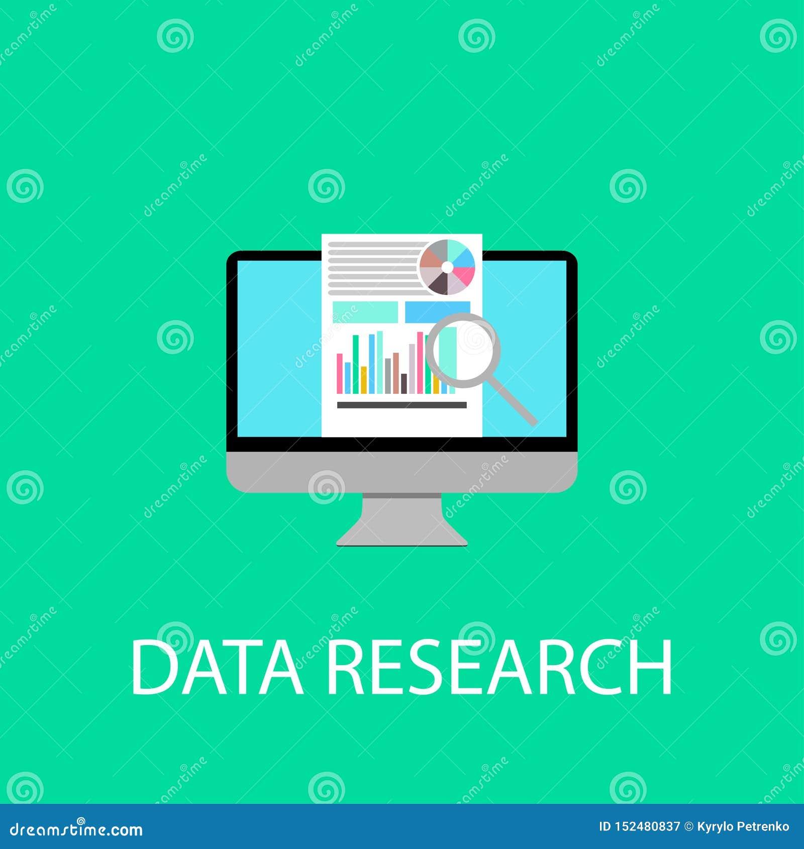 computer date research main screen flat design