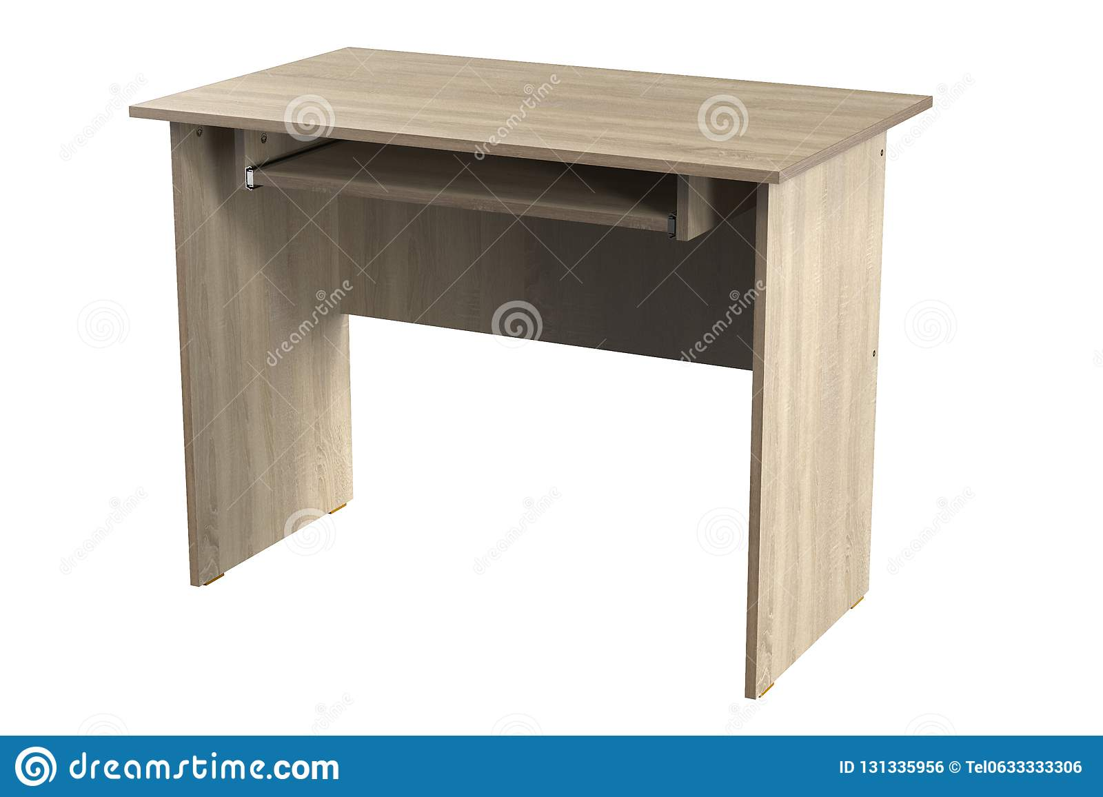 Computer Desk Chipboard Oak Home Office Table Furniture Stock Illustration Illustration Of Clean Simple 131335956
